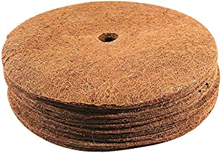 Envelor Coco Coir Mulch Disc Plant Cover Coconut Fibers Natural Mat 14 Inches Dia 10 Pack Weed Control Tree Ring
