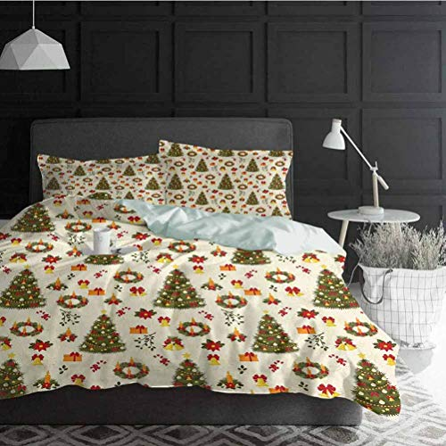 Duvet Cover Set Christmas Wrinkle, Fade, Stain Resistant Fir Tree Garland and Bells Festive Ornaments Xmas Themed Cartoon Seasonal Holiday Decorative 3 Piece Bedding Set with 2 Pillow Shams, Full Size