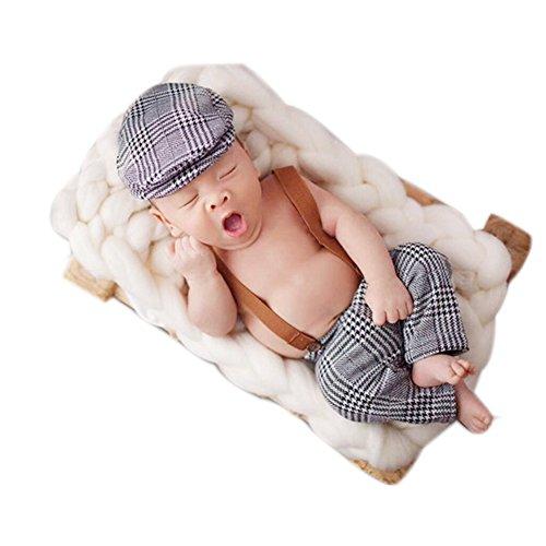 Tutina neonato fotografia puntelli Boy Girl crochet grigio costume Outfits (Cap &)