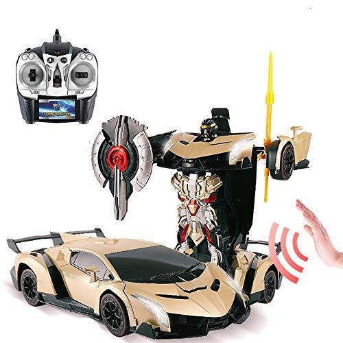 Año Nuevo cumpleaños de escritorio Decoración Autobots 2.4G un solo botón de carreras de coches de radio control Deformación 01:14 Gesto de alta velocidad RC Robots Vehículo de detección de coches de