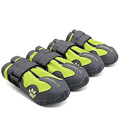 TRUE LOVE Dog Shoes Waterproof Anti-Slip Rain Boots with Reflective TLS3961 (Neon Yellow,2#)
