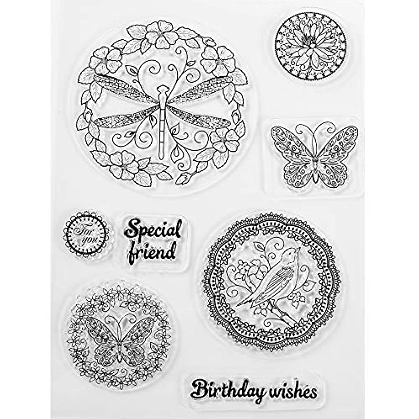 MaGuo Happy Birthday Stamps for Card Making Clear Stamps Butterflies Dragonflies Birds for DIY Scrapbooking
