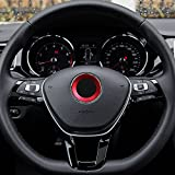 TOPDECO Aluminium Trim Car Steering Wheel Logo Sticker-fit VW Volkswagen Golf 6 Golf 7 Polo Tiguan Passat B7 Touran Scirocco Beetle(Red)
