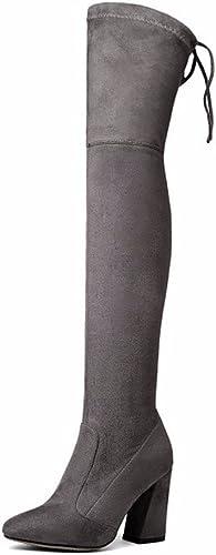 botas de invierno y elástica suede rodilla botas altas con botas gruesas