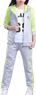 Freebily Completo Sportivo Bambina Invernali Termici in Velluto Felpe con Cappuccio Pullover Pantaloni Lunghi Sportivi Due Pezzi Set di Abiti Tuta da Ginnastica Tracksuit