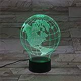 LBJZD luz de noche Lámpara 3D Moderna El Color De La Atmósfera Del Globo Terráqueo Que Cambia Con Lámpara De Luz Nocturna Led Remota Para Decoración De Interiores Con Mando A Distancia