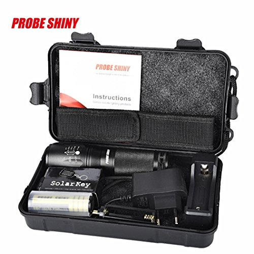 Koly 5000 lúmenes Zoomable X800 XML T6 LED Policía Táctica Linterna + 18650 Batería + Cargador + Caso Clase de eficiencia energética A+++