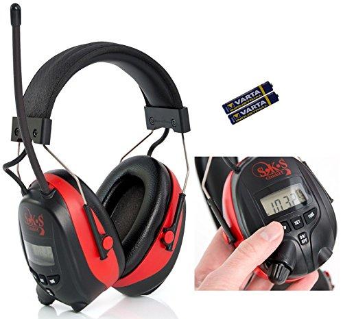 SKS 1180 Digital mit Radio FM/AM Kapselgehörschutz, Kopfhörer + MP3 Anschluss, rot/schwarz, Batterien und Audiokabel für MP3