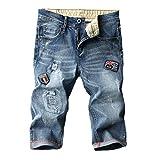 Targogo Hombres 3 4 Denim Jeans Stretch Festival Deporte Pantalones Cortos Moda Verano Slim Fit Azul Hombres Moda