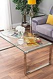 Kaxich Table Basse Chrome Style Moderne en Verre Clair métal argenté Table de Salon,Brown