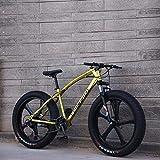 Bicicleta de montaña para adultos, bicicleta de crucero con marco de acero con alto contenido de carbono, freno de disco doble y horquilla de suspensión delantera completa,Oro,26 inch 27 speed