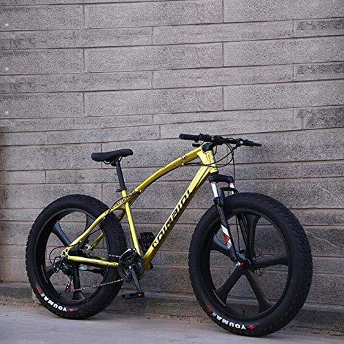 GASLIKE Bicicleta de montaña para Adultos, Bicicleta de Crucero con Marco de Acero con Alto Contenido de Carbono, Freno de Disco Doble y Horquilla de suspensión Delantera Completa