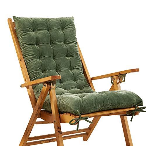 KTOL Sitzkissen Gartenstuhlauflage, Indoor Outdoor Stuhlauflagen Hochlehner-Auflage Sitzauflage Kristall Samt Terrasse Sessel Deckchair Liege Rocking Stuhl Pad-grün 120x48x10cm