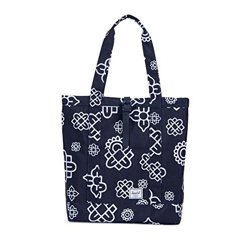 Herschel Market Tote Bag, Peacoat Paisley Print/Peacoat Rubber, One Size