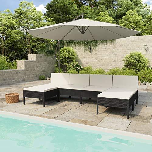 Ksodgun Set Muebles de jardín 6 Piezas y Cojines Conjunto de Jardín Set Conjunto Jardin Muebles Exteriores ratán sintético Negro + Blanco Crema
