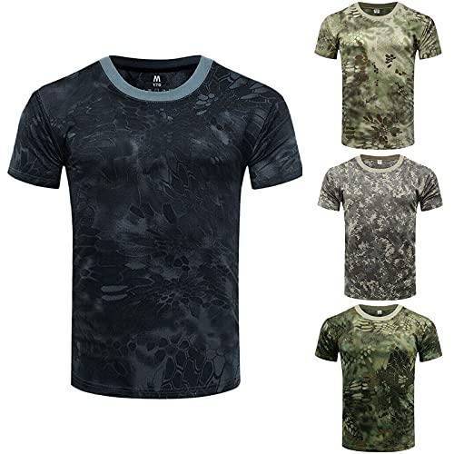Camiseta de manga corta para hombre y mujer, de corte normal, de camuflaje, con cuello redondo, para verano, para hombre y niño A01 XL