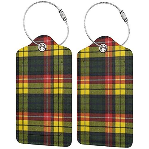 2 etiquetas para equipaje, etiquetas de piel sintética para equipaje con cierre de acero inoxidable para bolsa de viaje, maleta Buchanan, moderno, escocesa original
