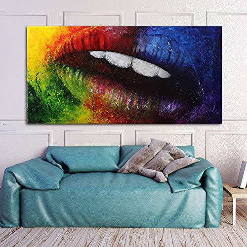 UIOLK Impresin de Lienzo Arte de Moda Abstracto Labios Coloridos Impresin de Lienzo Pintura Decorativa Arte de Pared Decorativo Habitacin Regalo de San Valentn