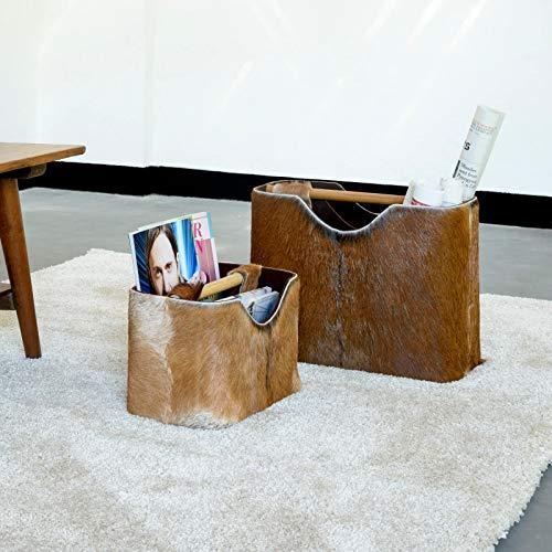 wohnfreuden Zeitungs-ständer Fell & Holz Zeitungshalter Korb klein 31x17,5x19 cm
