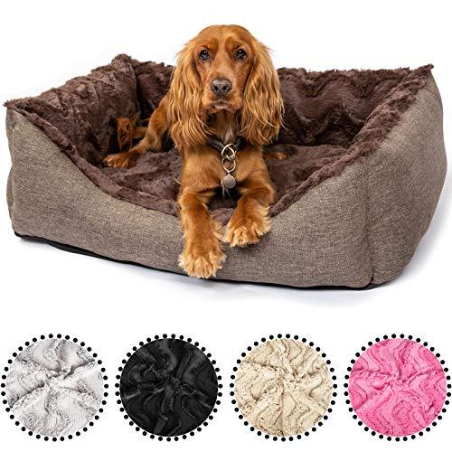 CopcoPet - Hundebett Pia Hundekörbchen Hundesofa, waschbarer Bezug mit Plüsch, Liegefläche mit orthopädischem Visco-Schaumstoff Gr. 100 x 80 cm, Braun