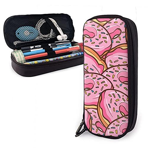 Estuche de piel sintética con forma de donuts y rosas, color rosa con forma de rosquilla, bolsa de gran capacidad, bolsa de maquillaje para escuela, estudiante y oficina