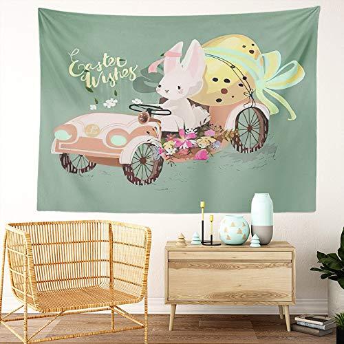 Y·JIANG Lindo tapiz, conejito liebre conducir el coche vintage con huevo de Pascua dormitorio decorativo gran tapiz, manta para colgar en la sala de estar, dormitorio, 80 x 60 pulgadas