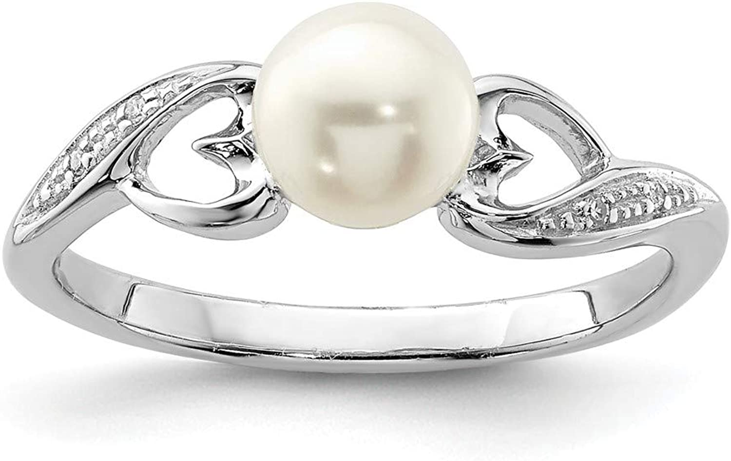 Beautiful Sterling silver 925 sterling Sterling Silver Rhodium Plated Diamond and FW Cultured Pearl Ring
