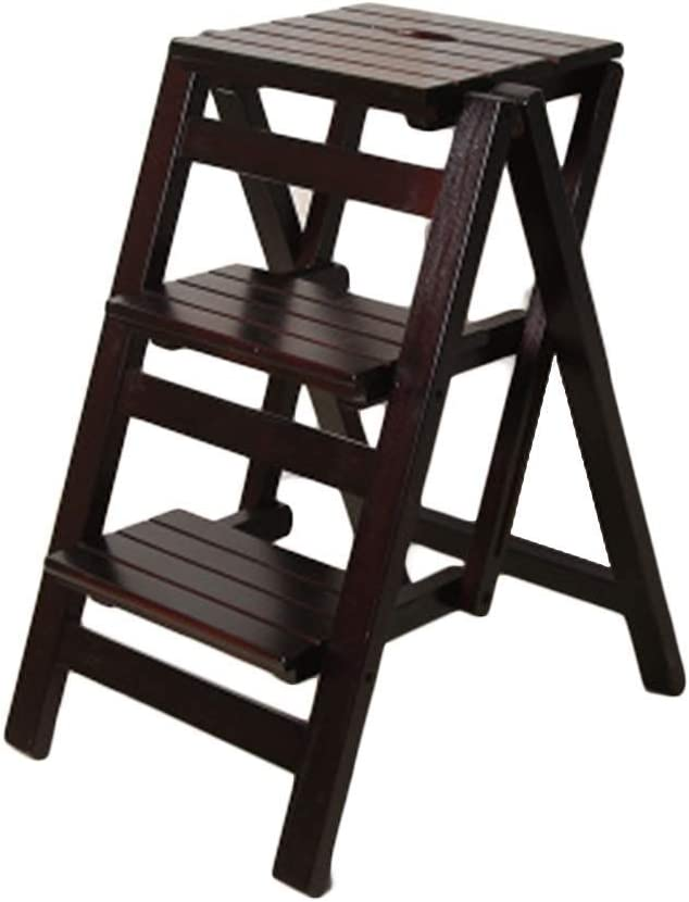 Step Stool Foldable Wooden Ladder Ind Solid Storey Max 72% OFF Miami Mall Wood 3