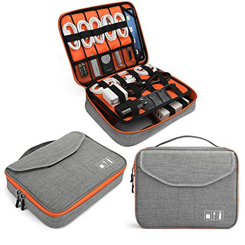 Jelly Comb Electronics Bag, Electronic Accessories Travel Cable Organizer Waterproof Cord Storage Bag for Cables, iPad (Up to 11''),Power Bank, USB Flash Drive and More-(Orange and Gray, 11in)