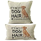 It's Not Dog Hair It's Hungarian Vizsla Glitter Linen Throw Pillow Case, 18 x 18 Inch and 12x20 Inch Set of 2, Dog Lovers Gifts,Funny Hungarian Vizsla Decor, Cushion Cover for Sofa Couch Bed