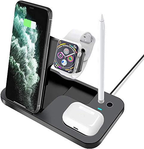 DZJ Estación de Carga inalámbrica, Base de Carga rápida 4 en 1 Compatible con iPhone12 / 11 / X / 8 / 8Plus / iWatch/AirPods/Airpods Pro/Apple Pencil/Samsung/Huawei-Negro