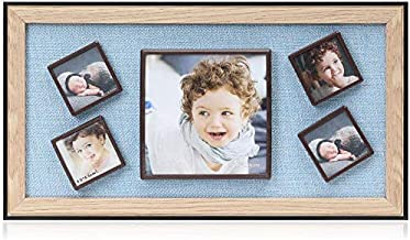 Display Shadow Box Magnetic Picture Frames Set, Linen Back Showcase Frame-Ready to Hang, 5 Photo Collage Frames with Magnets - Indoor Wall Art Decor