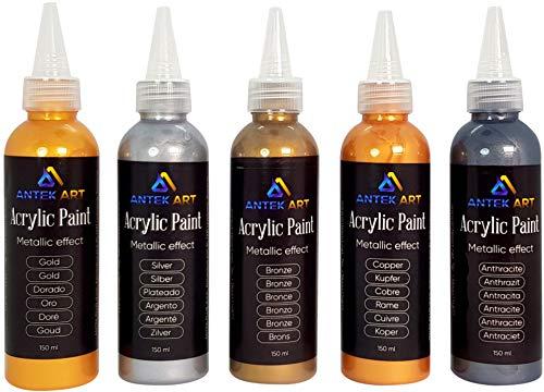 Vernici Acriliche ANTEK ART Set di 5 Colori ad Effetto Metallico in Bottiglie da 150ml Alto Contenuto di...