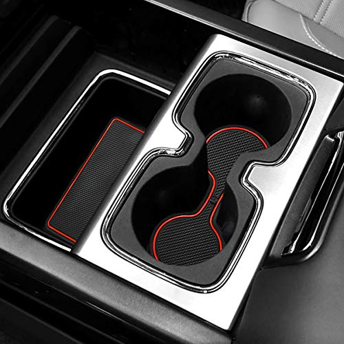 Pack of 24 Auovo Anti-Dust Custom Fit Cup and Center Console Liner Accessories for 2018 Chevrolet Silverado 1500 LT Double Cab Interior Door Compartment Liner Mats Inserts Red