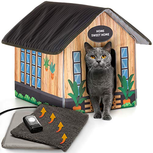 PETYELLA Heated cat Houses for Outdoor Cats in Winter - Heated Outdoor cat House...
