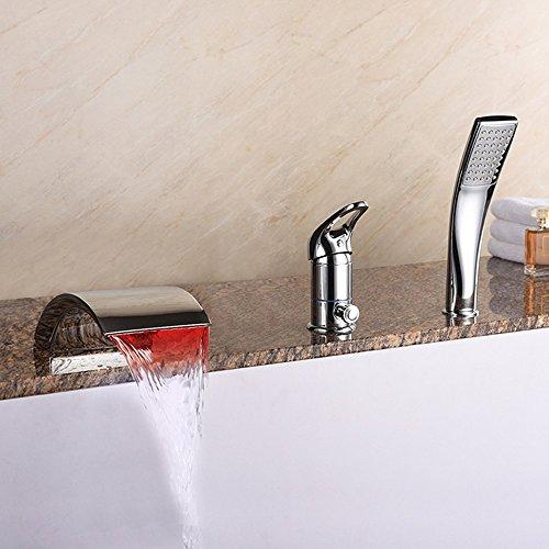WYRSXPY Rubinetto lavabo Idee di personalità LED Controllo della Temperatura Colore del Desktop Cascata Rubinetto della Vasca da Bagno del Lavabo, Raccordi in Ottone, Soffioni, Maniglia Singola Acqua