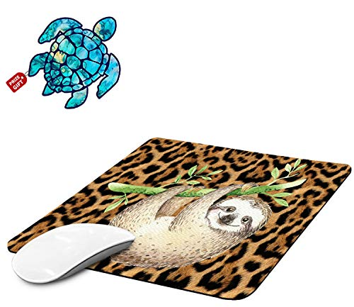 Mouse Pad with Leopard Print Sloth Gaming Mouse Pads for Laptop Computers Non-Slip Rubber Base Mousepads for Office Home, Rectangle Cute Mouse Mats and Sea Turtles Stickers