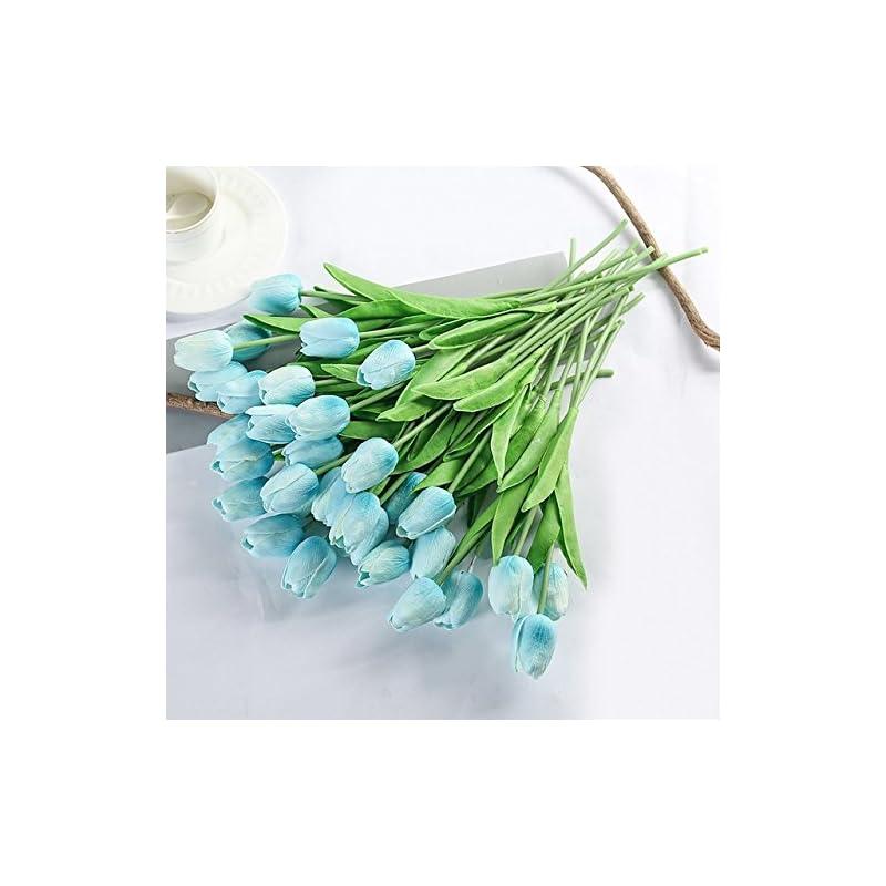 silk flower arrangements 31pcs tulip artificial wedding decoration bride bouquet real touch fake flower homes garden,blue