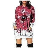 Boshivw Sudadera de Navidad para mujer, con capucha, diseño de Navidad, Vino, XXXL