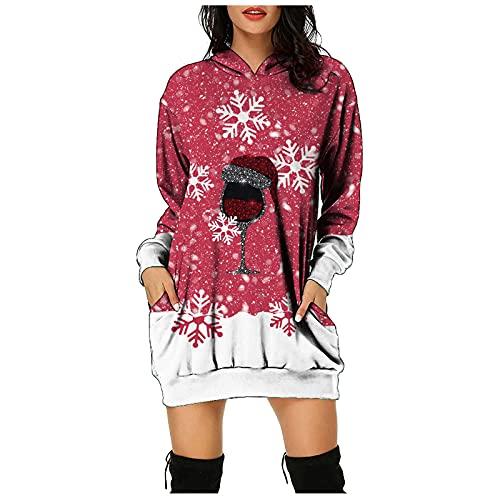 Xisimei Vestido de Navidad para mujer, adolescente, niña, minivestido, de manga larga, con diseño de Papá Noel, muñeco de nieve, vestido de noche, vestido de Navidad, Rudolph, reno, A02-Vino., XXL
