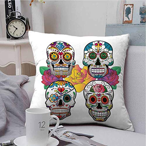 GFFhome Sugar Skull Decor,pillowcovers,Different Types of Skulls Rich Colorful Ornaments Roses Border Carnival,Comfortable,Multicolor