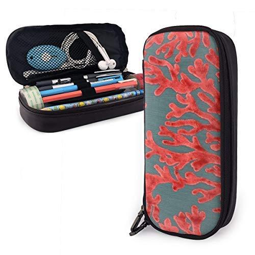 DJNGN Pencil Case Estuche para lápices de piel sintética con estampado de coral rojo de buceo, estuche para bolígrafos de gran capacidad, organizadores de papelería duraderos para estudiantes