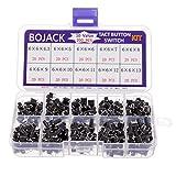 BOJACK 10 Valeurs 200 pièces Interrupteurs à bouton-poussoir tactiles 6x6 mm Kit d'assortiment d'interrupteurs à bouton-poussoir momentanés à 4 broches