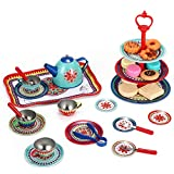 SOKA Vintage Style Metal Tea & Cakes Set Toy for Kids - 40 Pcs Classic Colourful Design Toy Tea Party Set for Children Role Play