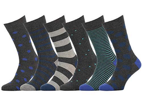 Easton Marlowe 6 Paar Bunt Gemusterte Herren Socken - 6pk #33, gemischt - neutrale Hauptfarben, 43-46 EU Schuhgröße