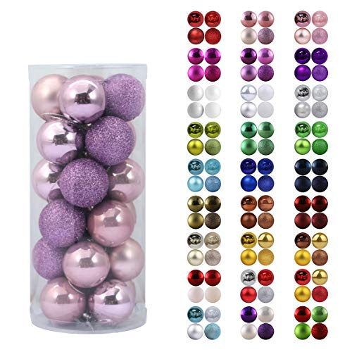 24Pcs Christmas Balls Ornaments for Xmas Tree - Shatterproof Christmas Tree Decorations Perfect Hanging Ball Lavender Purple 1.6' x 24 Pack