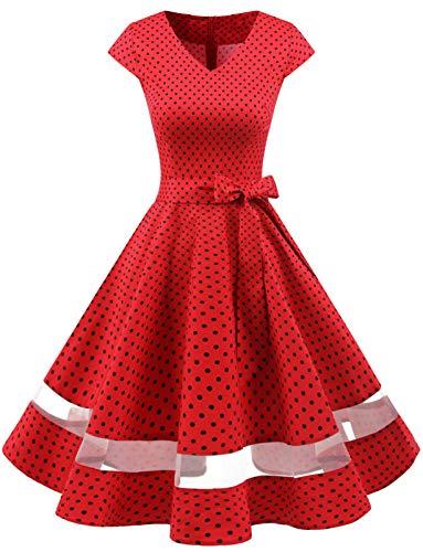 Gardenwed 1950er Vintage Retro Rockabilly Kleider Petticoat Faltenrock Cocktail Festliche Kleider Cap Sleeves Abendkleid Hochzeitkleid Red Small Black Dot XL