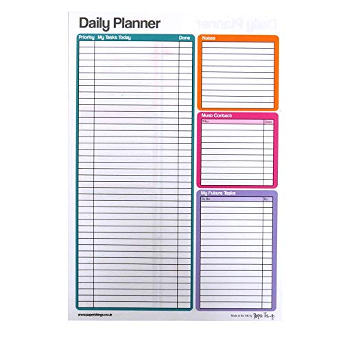 A4 Large Daily Planner Notepad – Double Sided - 75 Sheets Per Pad - Size 297mm x 210mm