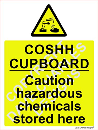 COSHH Cupboard Safety Sign - Self Adhesive Vinyl Sticker 150mm x 200mm The clearest Cosh Cupboard Safety Sign. Health and safety signs