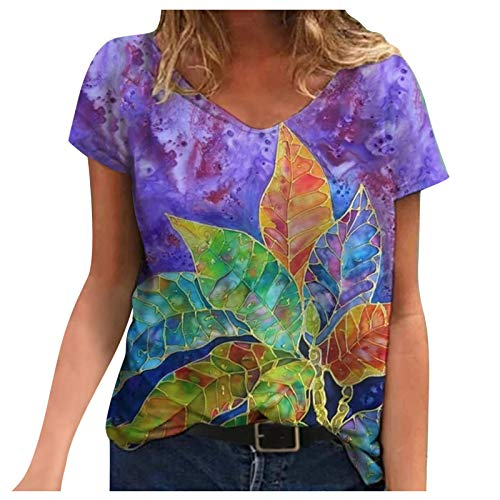 Women's Notch V Neck Short Sleeve Chiffon Shirts Casual Lace Blouse Top Tunic Tank Tops for Womens Lace Tops for Womens Bohemian Tops for Womens Trendy Tops(#3-Purple,XL)